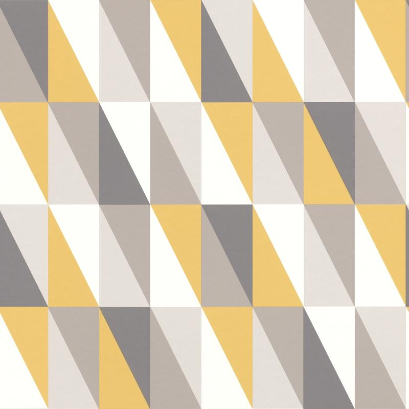Vliestapete 'Dreiecke' senfgelb/grau
