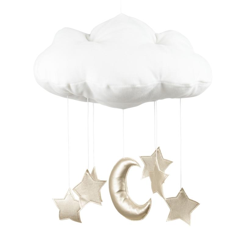 Mobile 'Wolke, Mond & Sterne' weiß/gold