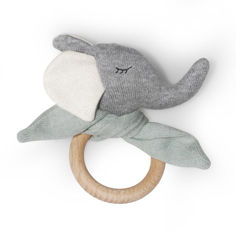 Greifling 'Elefant' Feinstrick grau/mint