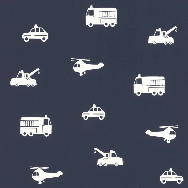 Vliestapete 'Fahrzeuge' dunkelblau/weiß