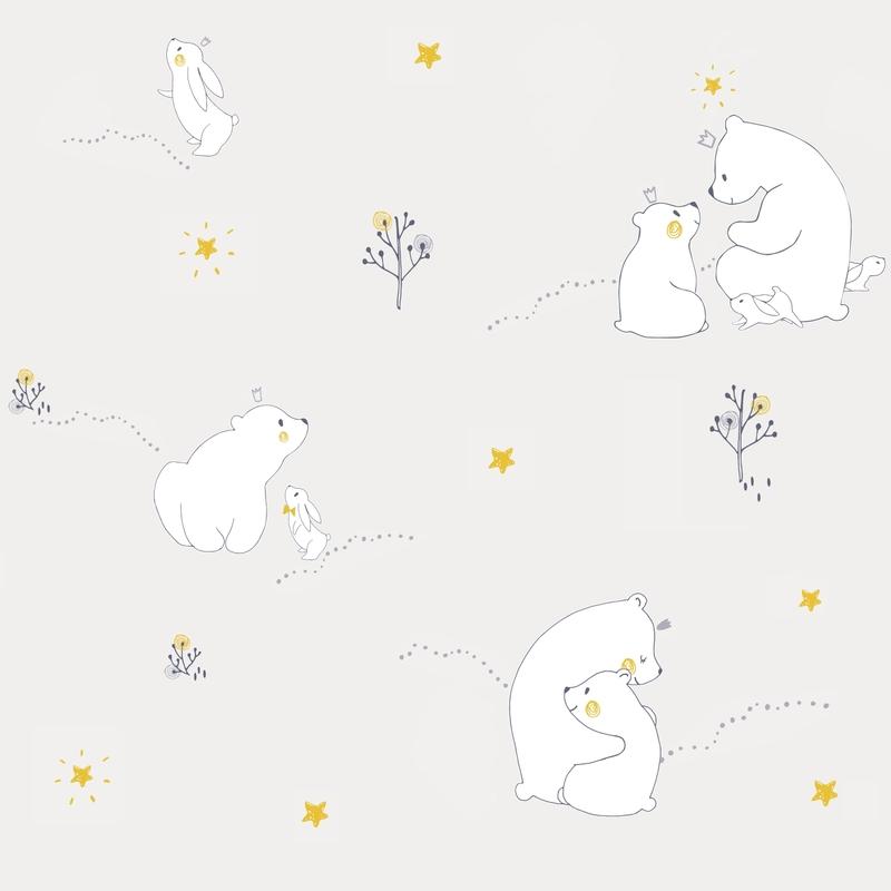 Tapete 'Eisbär & Hase' hellgrau/Senf