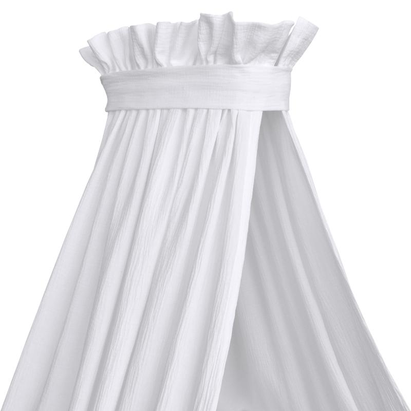 Himmel für Babybett Musselin weiß handmade