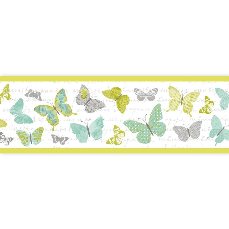 Bordüre 'Pretty Lili' Schmetterlinge grün