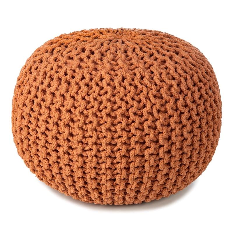 Sitzpuff aus Baumwollstrick terracotta