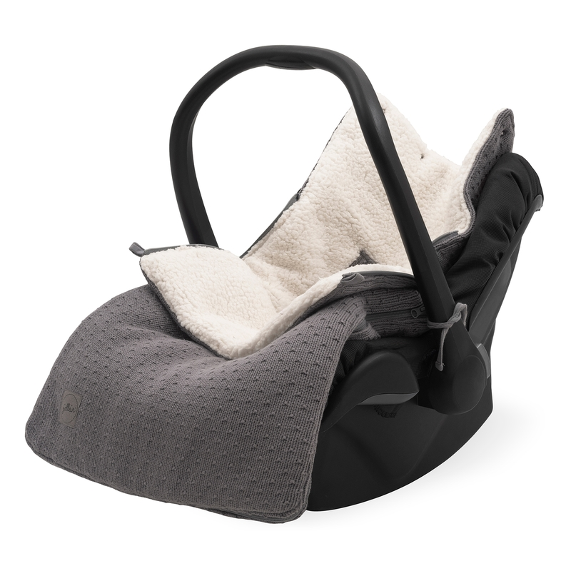 Fußsack 'Bliss Knit' Strick/Plüsch grau