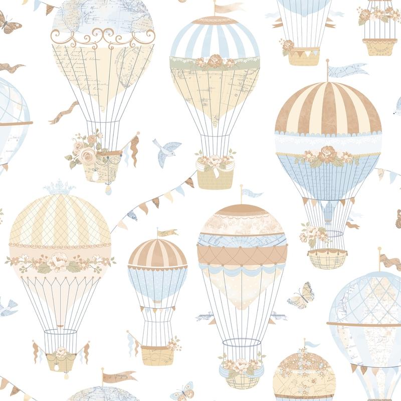 Vliestapete 'Heißluftballons' hellblau/beige