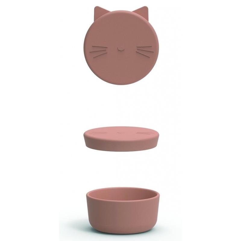 Brotdose 'Katze' Silikon altrosa ca. 11cm
