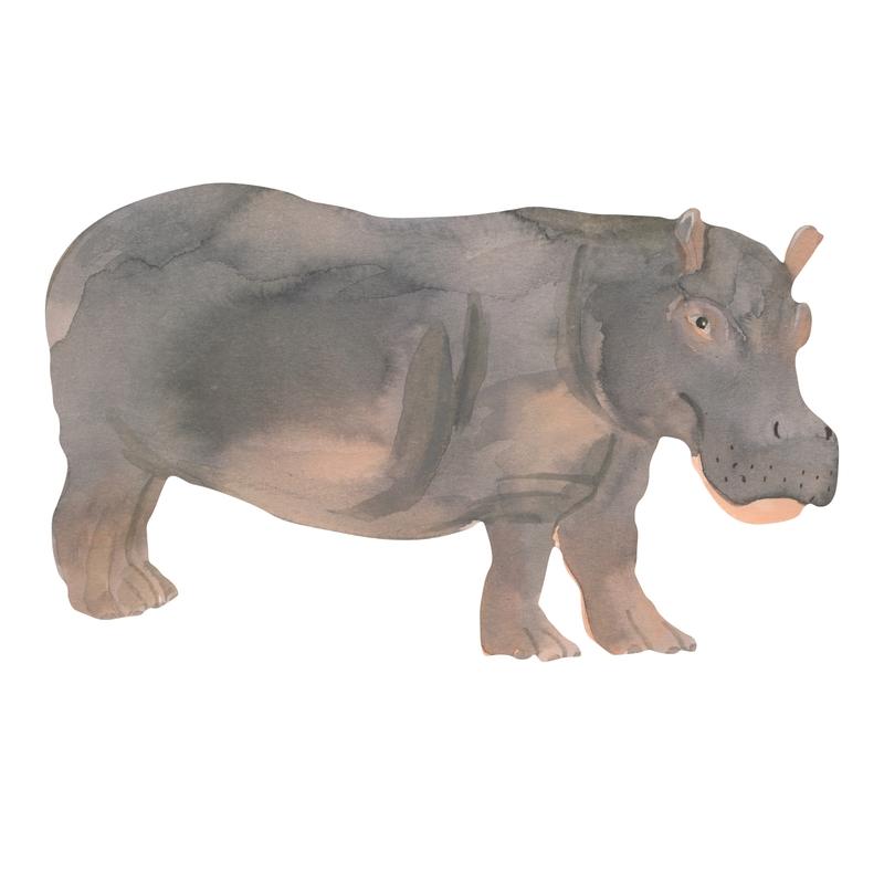 Stoff-Wandsticker 'Nilpferd' grau 33x55cm