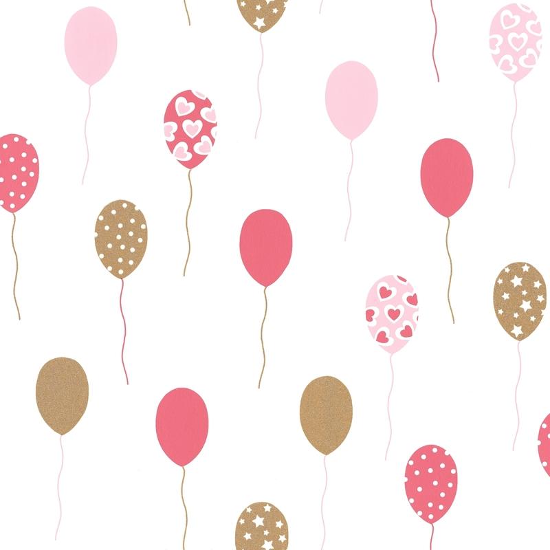 Tapete Luftballons rosa/gold 'Girl Power'