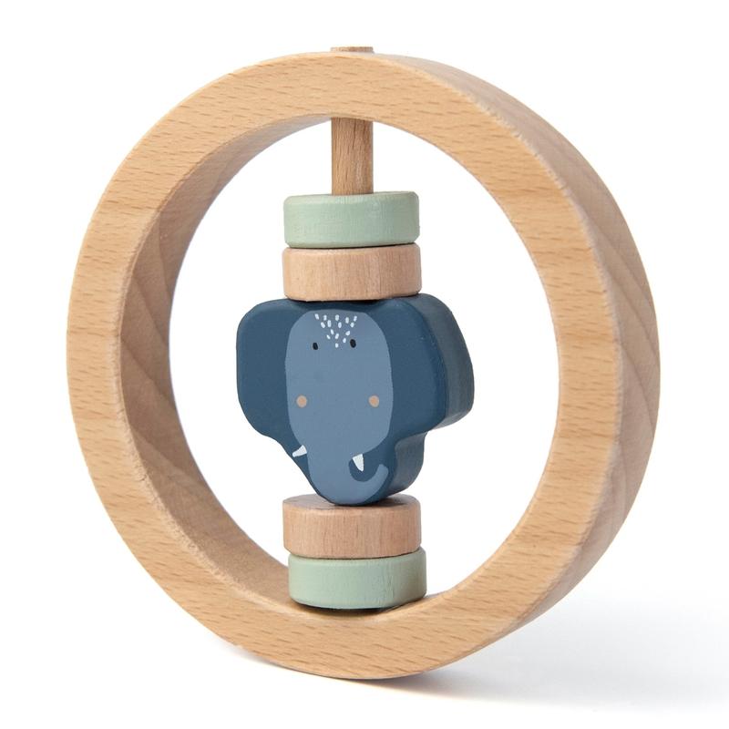 Rassel 'Elefant' Holz natur/blau ca. 9cm