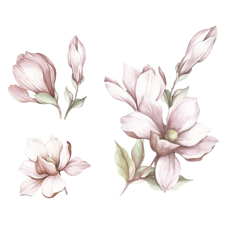 Stoff-Wandsticker 'Magnolien' altrosa
