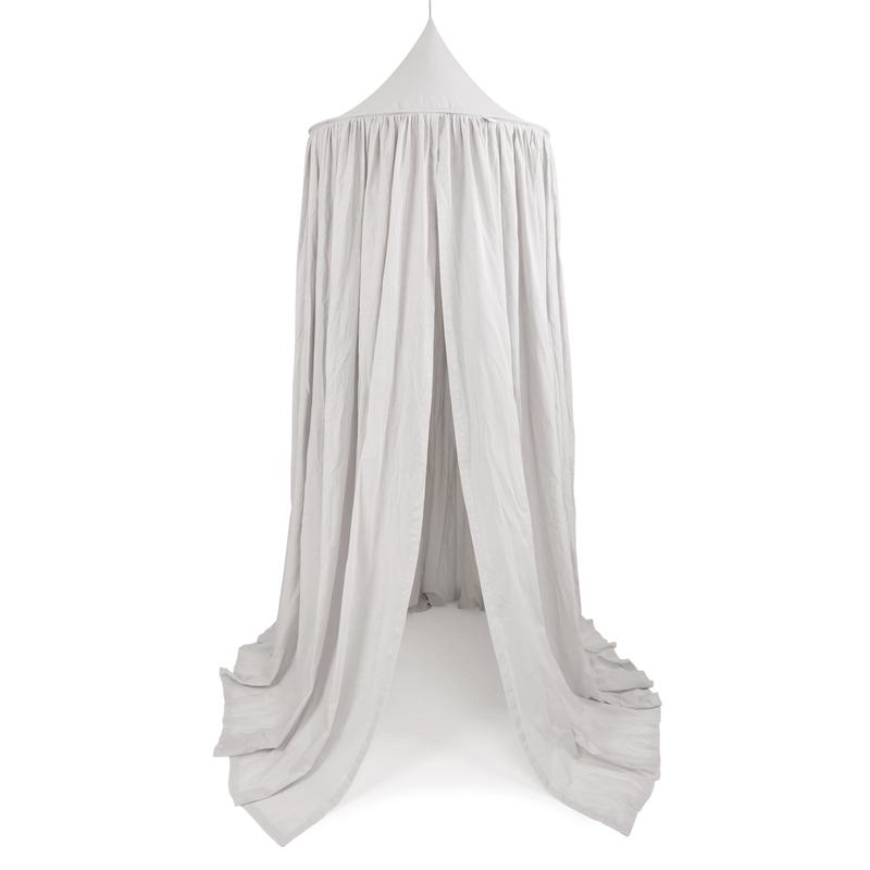 XL Baldachin aus Baumwolle hellgrau Ø 70cm