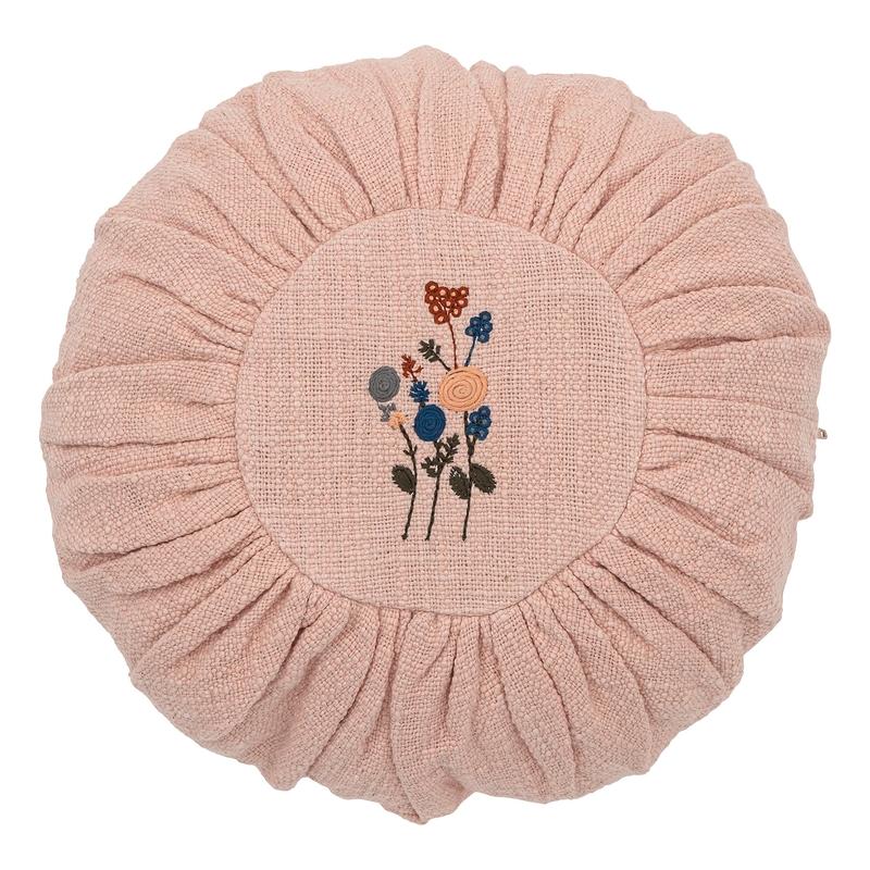 Kissen 'Blumen' bestickt rund rosa ca. 33cm