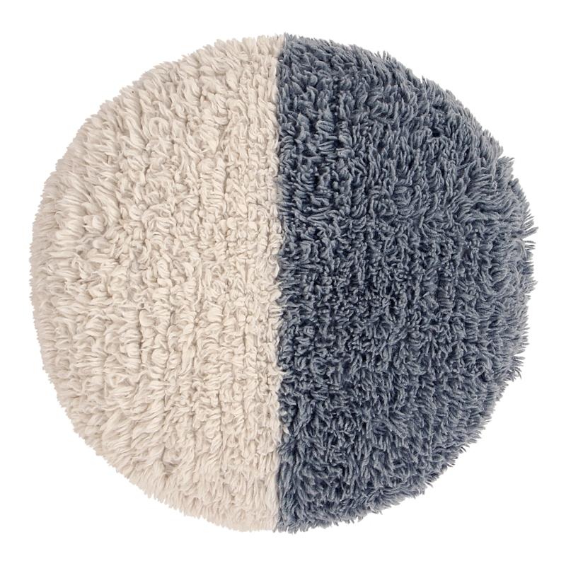 XL-Sitzkissen aus Wolle 'Sun' creme/blau