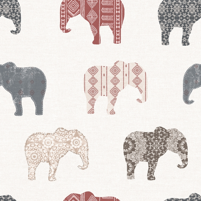 Vliestapete 'Elefanten' dunkelblau/rot