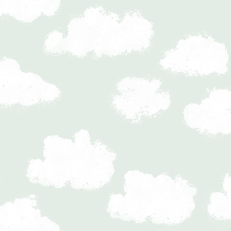 Kindertapete 'Wolken' mint/weiß
