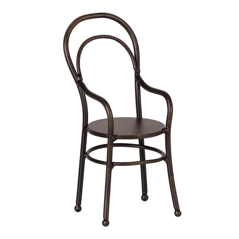 Puppenhaus-Metallstuhl schwarz 13cm (Mini)