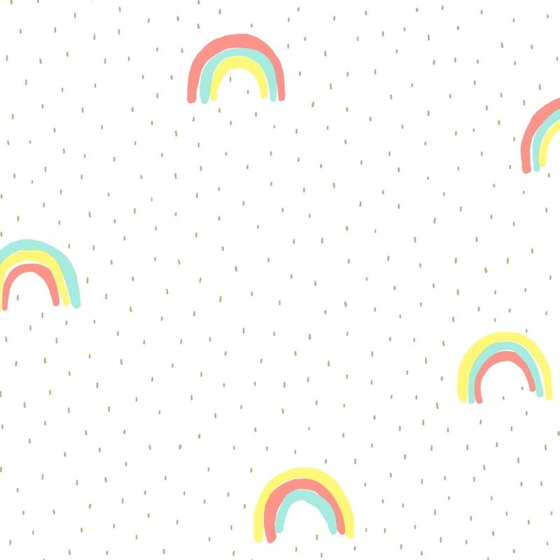 Vliestapete 'Mini Me' Regenbogen mint/gelb