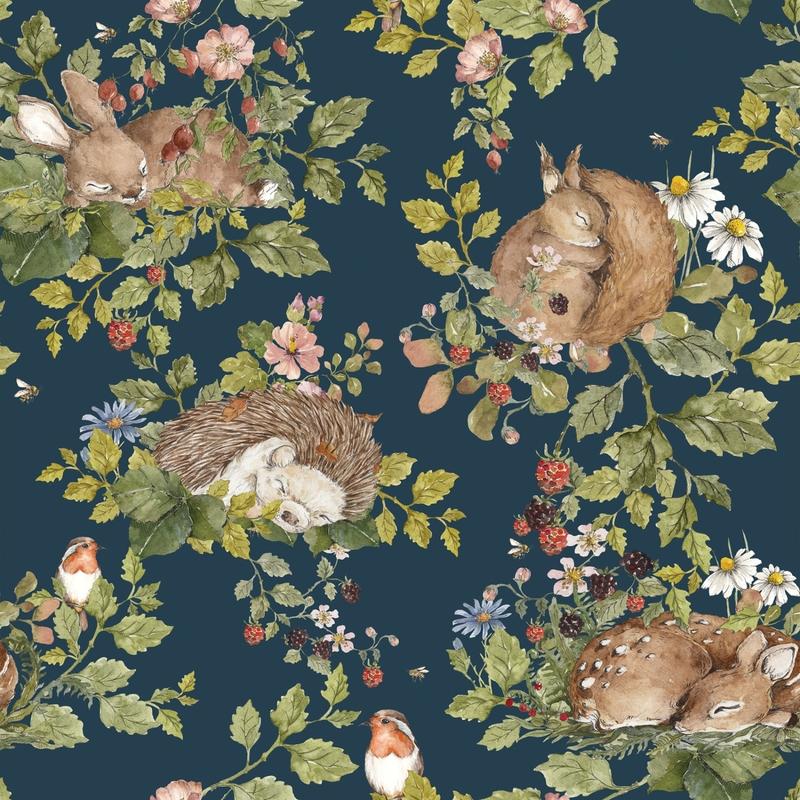 Tapete 'Sleepy Animals' dunkelblau 50x280cm