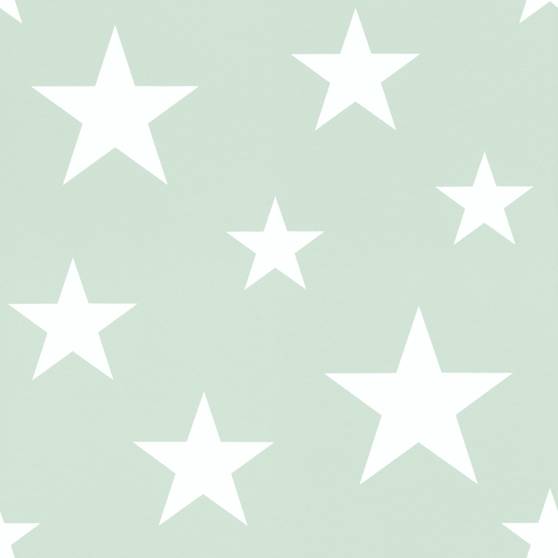 Vliestapete 'Sterne' mint/weiß