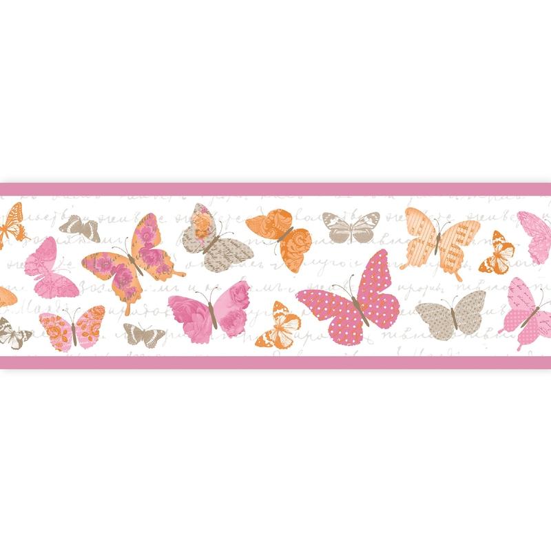 Bordüre 'Pretty Lili' Schmetterlinge pink
