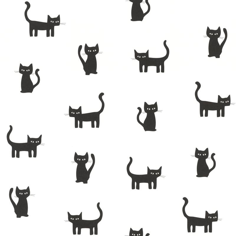 Vliestapete 'Kätzchen' weiß/schwarz