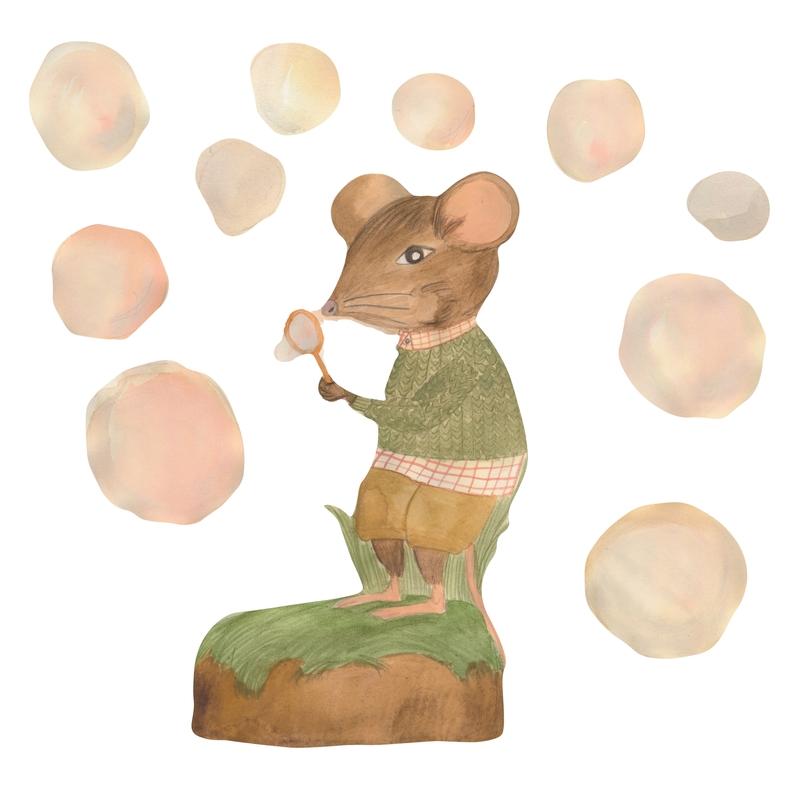 Stoff-Wandsticker Maus 'Seifenblasen'