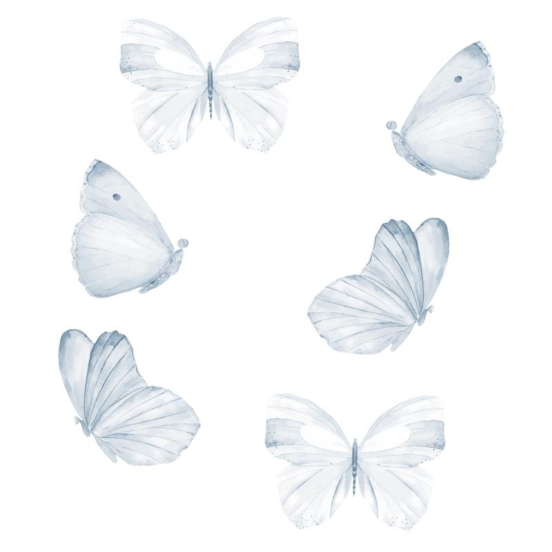 Stoff-Wandsticker 'Schmetterlinge' hellblau