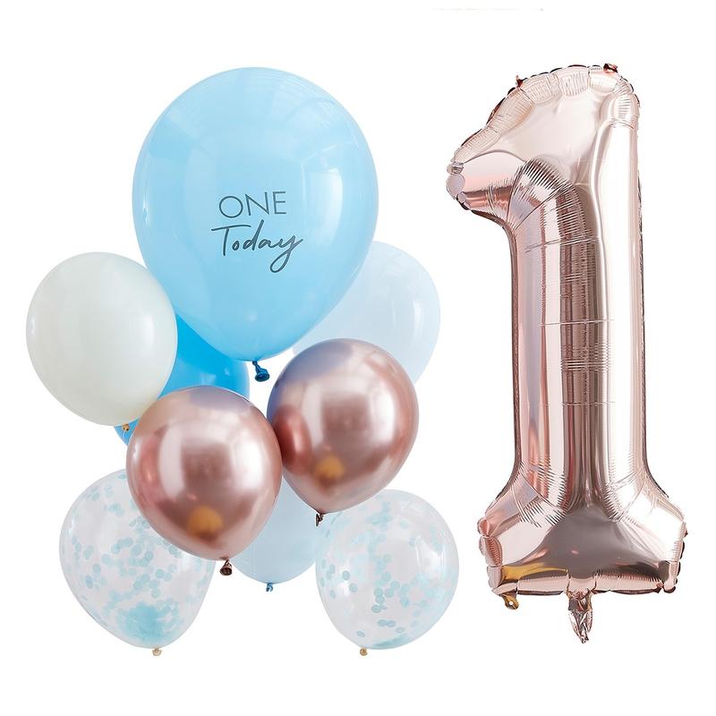 Geburtstagsluftballons 'One Today' roségold/blau