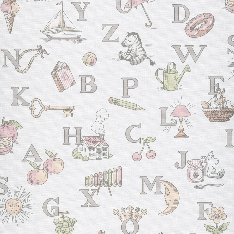 Tapete Buchstaben grau/rosa 'Jack 'N Rose 2'