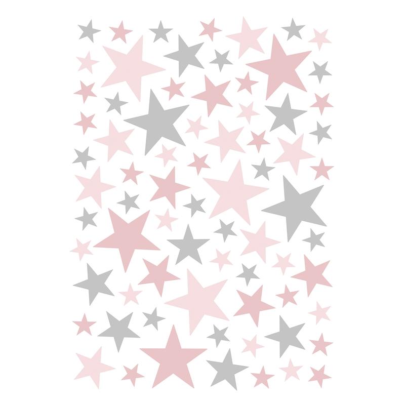 Wandsticker 'Basic Sterne' rosa/grau 74-tlg.