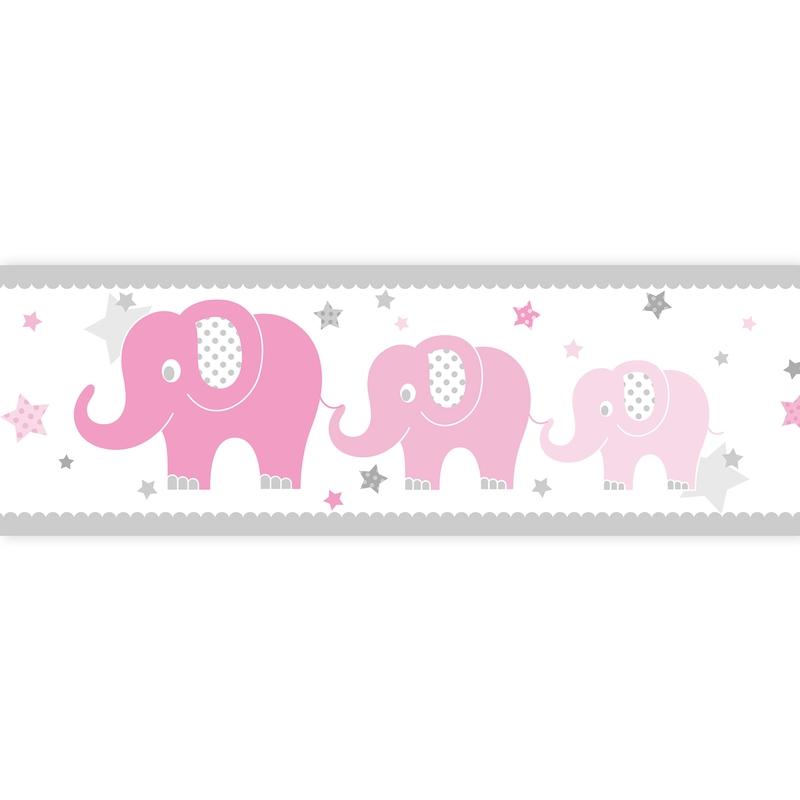 Bordüre Elefanten rosa selbstklebend