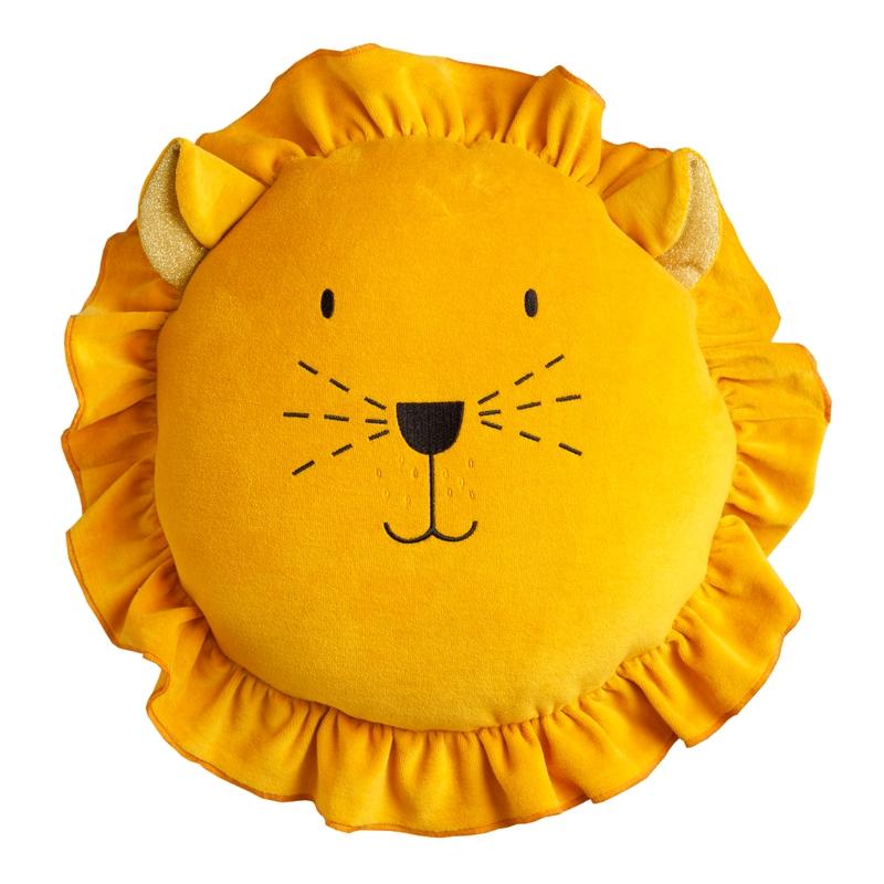 Kissen 'Löwe' aus Samt senfgelb ca. 35cm