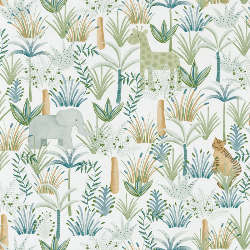 Tapete 'Rose & Nino' Dschungel grün/camel