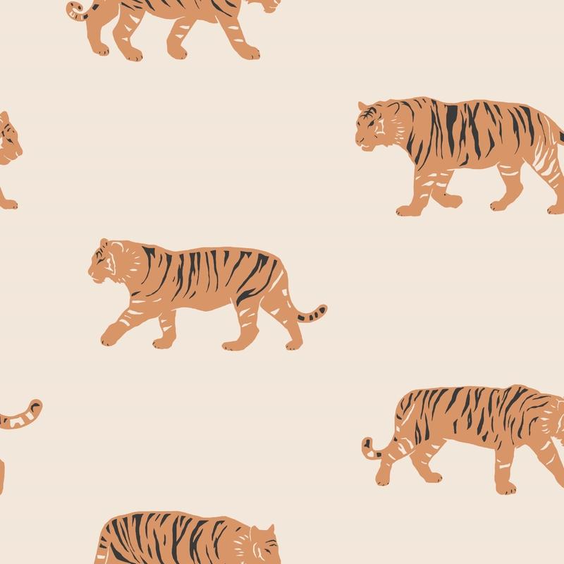 Fototapete 'Tiger' creme/orange 180x270cm