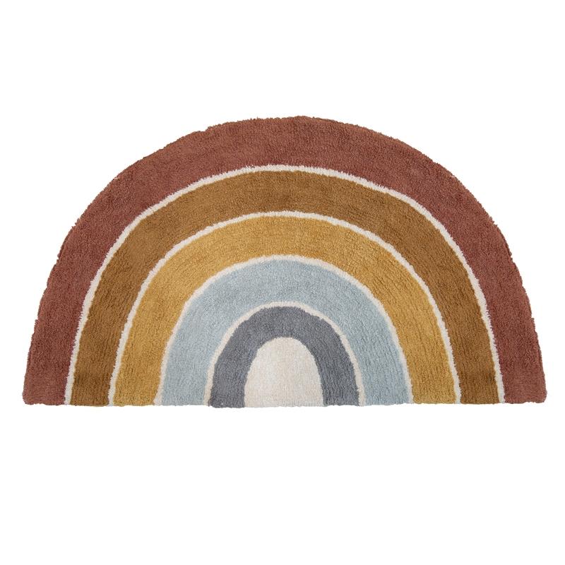 Teppich 'Regenbogen' blau/rost waschbar