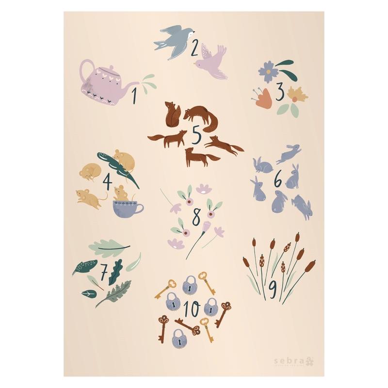 Poster Zahlen & Tiere 'Daydream' 50x70cm