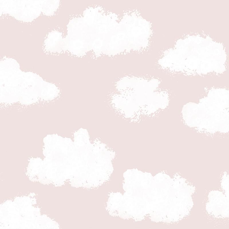 Kindertapete 'Wolken' puderrosa/weiß