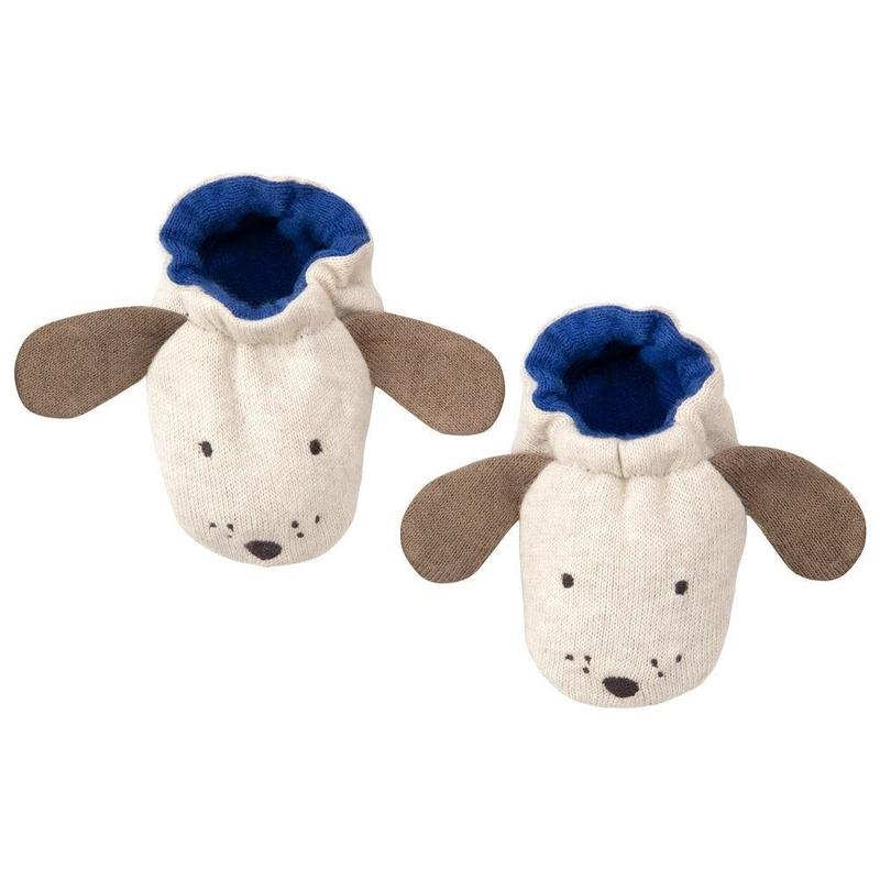 Babyschuhe 'Hund' Feinstrick creme/blau