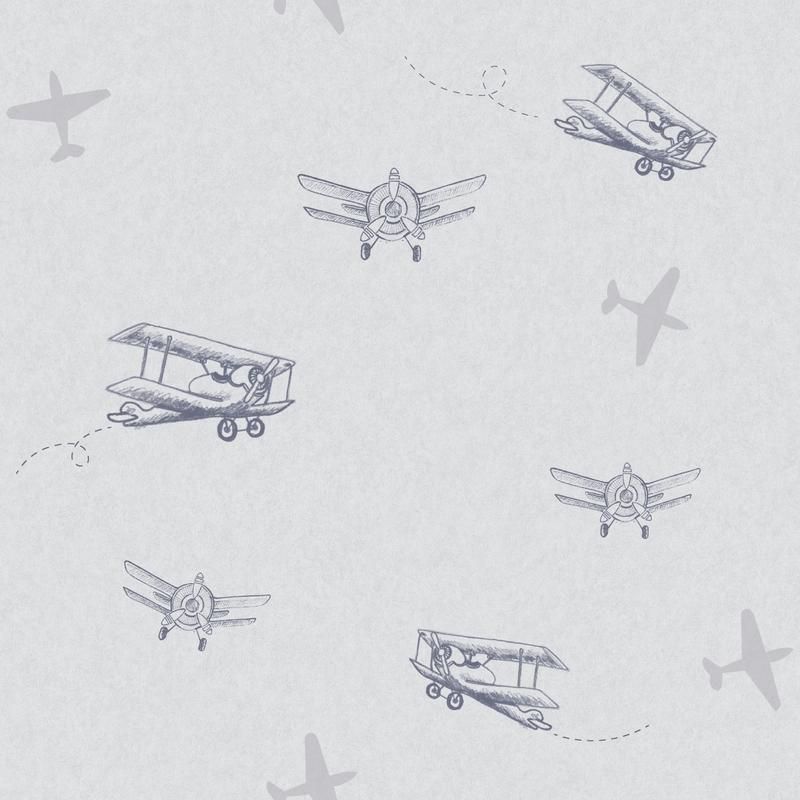 Tapete 'Flugzeuge' blau/silber