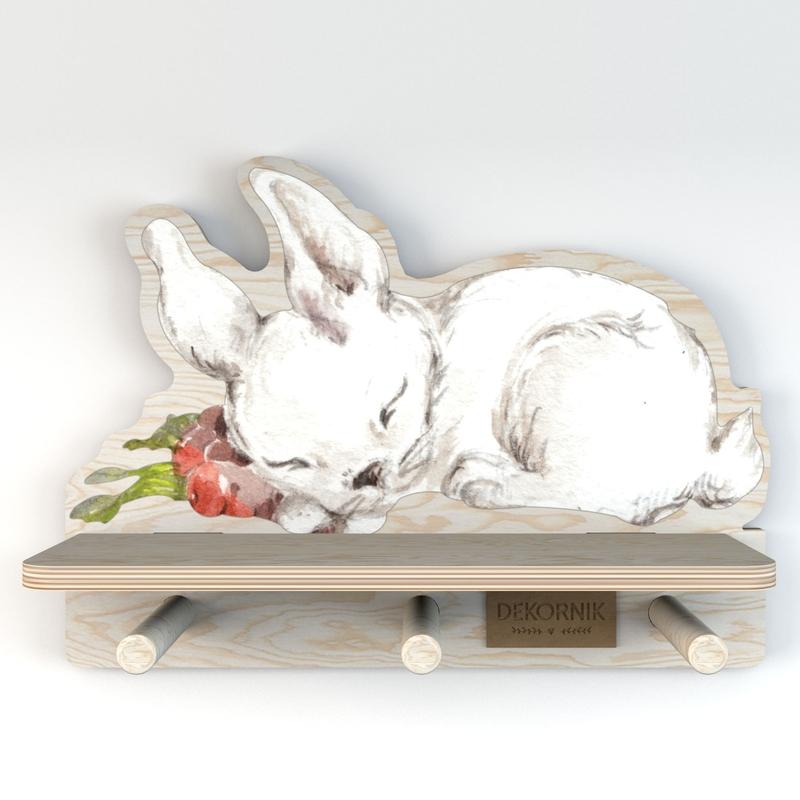 Wandregal & Garderobe 'Hase' weiß 32cm