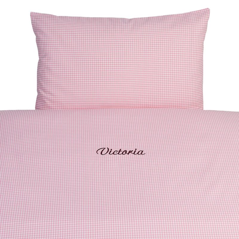 Bettwäsche Vichy rosa 100x135cm personalisiert