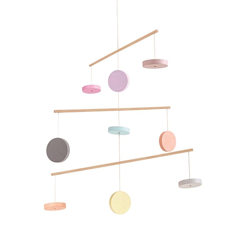 Mobile 'Kreise' aus Naturholz pastell ca. 35cm