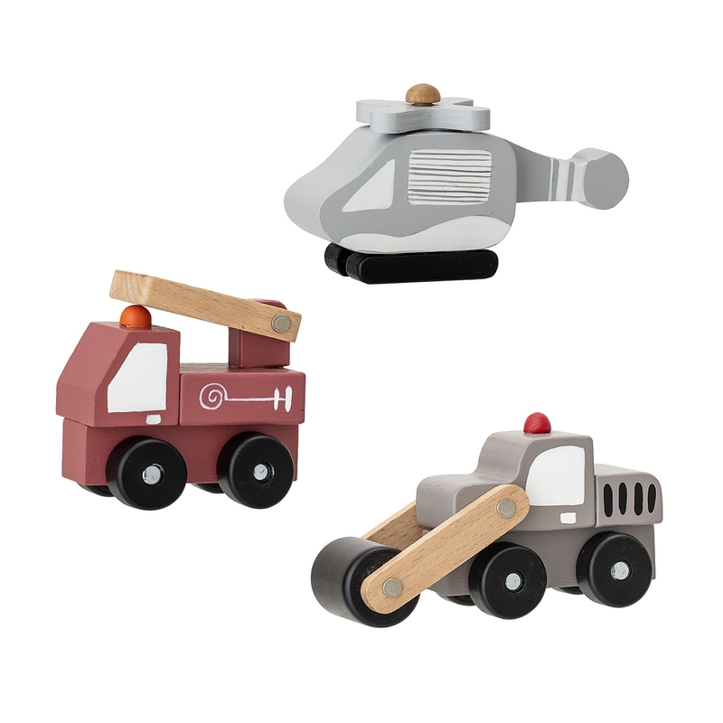 Holzautos grau/rot/natur ab 18 Monaten