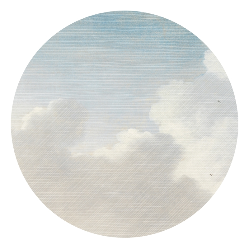 XL-Wandsticker 'Himmel' rund blau/grau