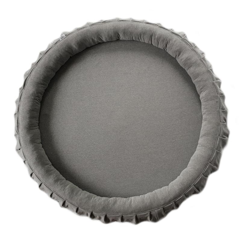 Spielmatte mit Rand & Rüschen grau 120cm