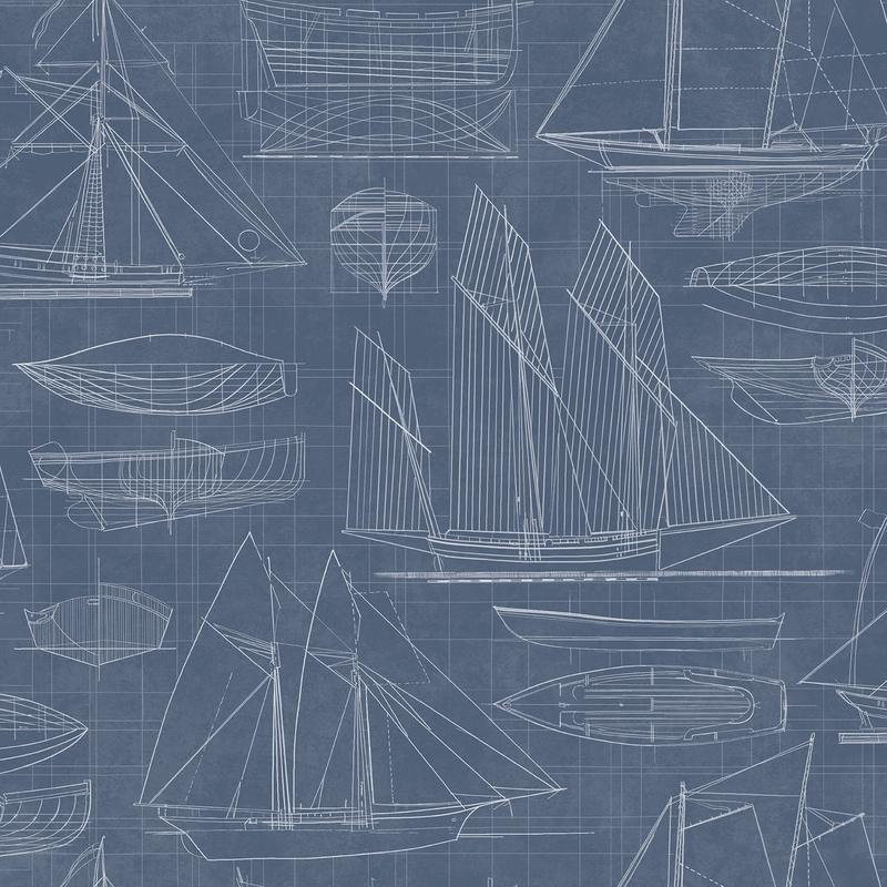 Vliestapete 'Segelschiffe' dunkelblau