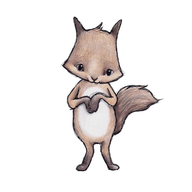 Tier-Wandsticker 'Eichhörnchen' handgezeichnet