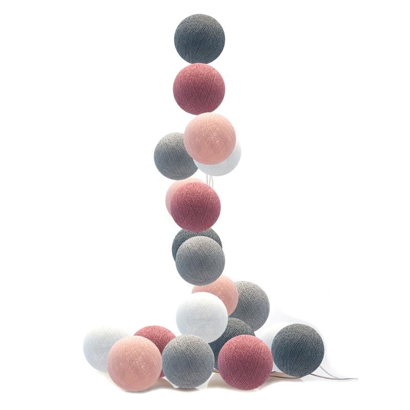 Lichterkette Cotton Balls LED altrosa/grau