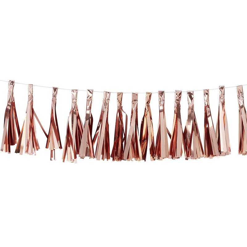 DIY-Quastengirlande roségold' 200cm